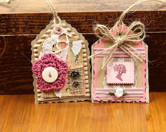 Vintage style gift tag, Pen pals gift, Pink hang tags, Crochet flower tags, Retro gift tag, Recycling gift tag, Journal tags, Thank you tags