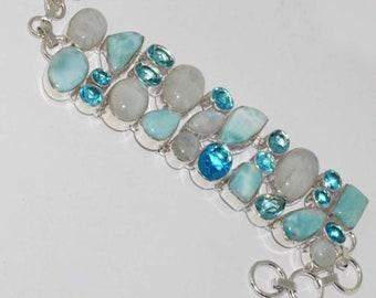 Natural Larimar , Rainbow Moonstone , Blue Quartz  Handmade 925 Silver Plated cluster Bracelet