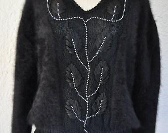 Black Angora Wool Sweater