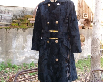 Dramatic Black Velvet Faux Fur Double Breasted Coat with Belt, Brass Buttons and Details