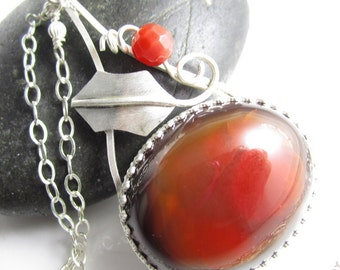 Jolly Holly Necklace - Sterling Silver Holly, Carnelian Berry and Festive Carnelian Red