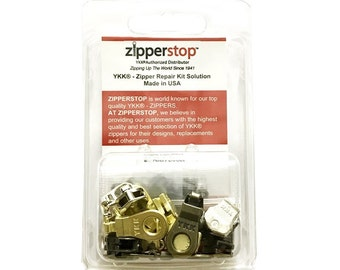 Zipper Repair Kit Solution YKK ~ Donut Style Pulls - 5pcs with Top and Bottom Stoppers- Nickel, Antique Brass or Brass-ZipperStop Wholesale