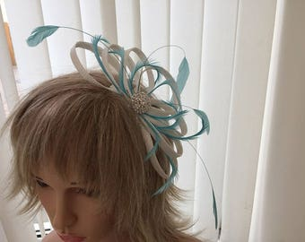 White and turquoise  sinamay fascinator, hair accessories, can be custom made to match your outfit