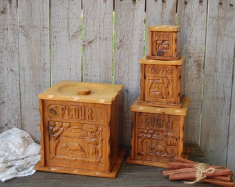 Wood Canister Set, Mid Century, Vintage, Hand Carved, Set Of 4,