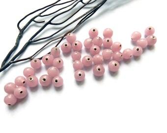20 pink pastel pearls 7 mm vintage glass