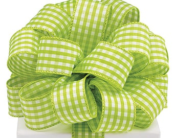 """1.5"""" x 20yds Lime Green & White Gingham Ribbon/Wired Edge/Wreath Supplies/Spring Ribbon/9710316"""