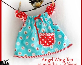 Angel Wing Top PDF Pattern and Video Tutorial 12 month 2 3 4 5 6 7 8 Instant Download