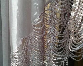 Curtains Nordic Chic Window Curtains Mauve curtains Vintage  curtains Home Decor Lace