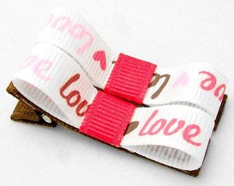 Love Hair Clips, Love Tuxedo Bows, Love and Hearts, Love Clips, Love Hair Bows, Baby Toddler Girls Pink Brown White