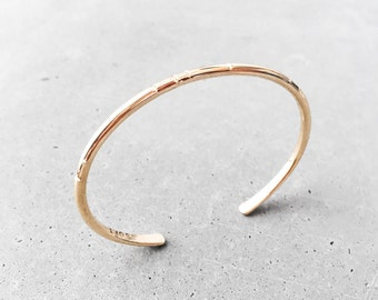 Carved Tribal Cuff Bracelet / 14k gold fill / modern minimal everyday layering bangle / staple jewelry