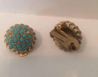 Hattie Carnegie Faux Turquoise Seed Bead Earrings