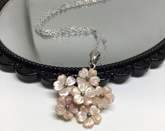 Blest Jewellery-Pink Mother of Pearl Flower Pendant- 925 Sterling Silver