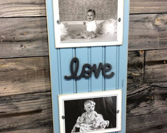 Love distressed picture frame holds 2-4x6 photos blue