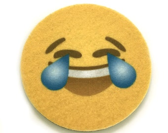 Face With Tears of Joy emoji car coasters - Emoji auto coasters - Makes a great gift - Free Shipping - Two Absorbent Cup Holder Coasters