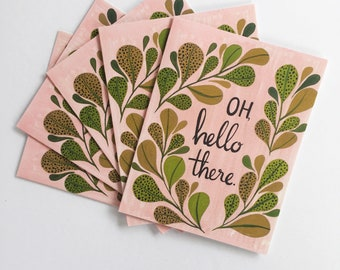 Oh Hello There flora greeting cards -  set of five 5.5 x 4