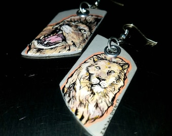Gray and Hot Pink Lion - hand-painted big cat charm earrings