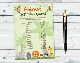 Safari Animal Pregnancy Game, Animal Gestation Game, Safari Baby Shower Game, Baby Animal Pregnancy Game, Jungle Animals Printable Games