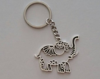 Mandala Elephant Keychain, Elephant Keychain, Elephant Zipper Pull, Good Luck Charm, Hollow Design Elephant Accessory, Gift for Animal Lover