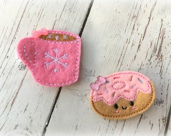 Hot Cocoa Hair clip and Donut hair clip Sweet Clips Set of two hair clips