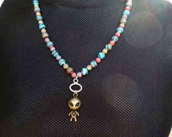 Space Alien & Planets Necklace