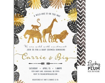 Black Gold Safari Baby Shower Invitation / Jungle Wild One Safari Baby Shower Invitation / Couples Coed Gender Neutral / SF02