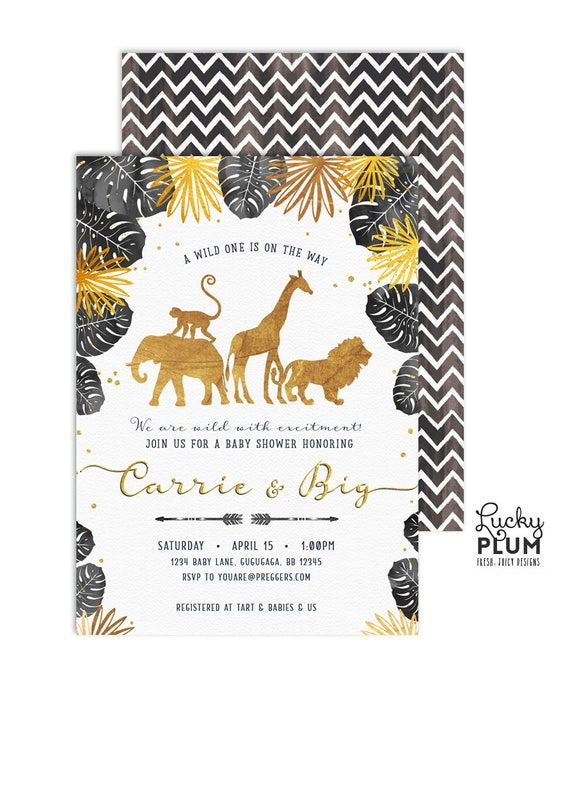 Black Gold Safari Baby Shower Invitation Jungle Wild One