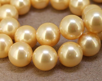 "12mm  Luster Yellow South Seashell Pearl beads Round Shell Pearl Full One Strand 15.5"" in length 32beads Per Strand LB1024"