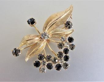 Vintage Austria Brooch | Signed Austria Brooch | Smokey Topaz Rhinestone Pin | Floral Rhinestone Brooch | Gift Jewelry