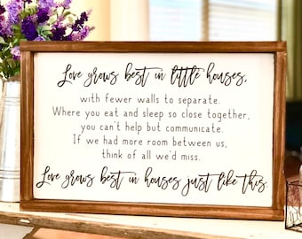 Love Grows Best in Little Houses - Farmhouse Decor - Rustic Wood Sign - Housewarming Gift - Little Houses - Framed Wood Sign - New Home Gift