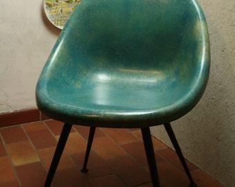 Blue ,green vintage 50s fiberglas shell chair
