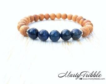 Wood Dumortierite Bracelet, Blue Gemstone Bracelet, Crystal Healing Bracelet, Energy Bracelet, Yoga Bracelet, Vegan Bracelet, Gem Rock Stone