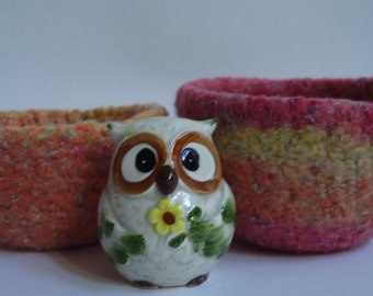 felted wool bowls containers desk organizers jewelry holders set of 2 Sunset red orange yellow