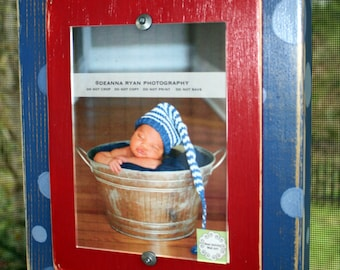 Distressed Picture Frame, Polka Dot Frame, 5x7 Picture Frame, Red & Blue