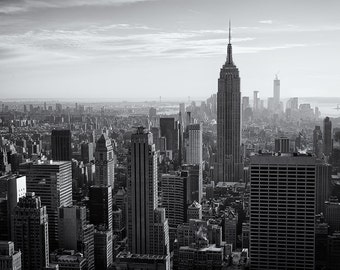Top of the Rock, New York City Skyline, Manhattan, Empire State Building, Cityscape, Black and White - Travel Photography, Print, Wall Art