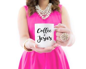 Coffee and Jesus Mug | Coffee and Jesus | Caffeine Queen | Coffee Mugs | Tea Mugs | Coffee Lovers | Mugs | Gift for Her | Christian Gifts