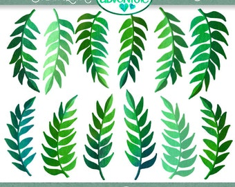 Watercolor Fern Clipart - 12 PNG Files - 1 Zip File - Instant Download