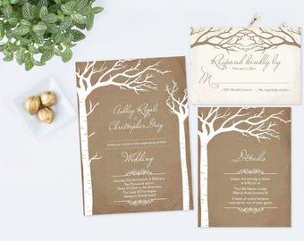 Woodland Wedding Invitation Template, Instant Download, Rustic Wedding Invites, Editable Invitation, Rustic Template, Printable Wedding, DIY