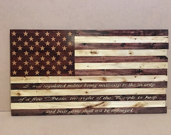 American Flag (2nd Amendment Edition) out of pallet wood