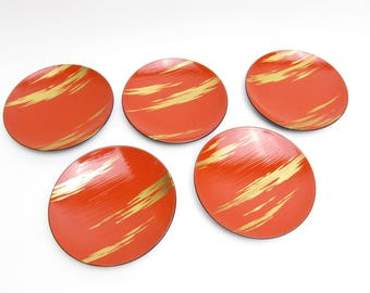 Wooden Plates lacquered.Set of 5.Vintage Japanese Traditional crafts.Confectionery plate.1960's.#urs2.msjapan.