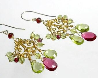 Peridot Chandelier Earrings Peridot Earrings Gemstone Chandelier Earrings August Birthstone Gold