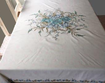 "VINTAGE cream brown blue scalloped edge tablecloth 60"" square 150cm"