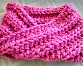 Ready to Ship - Magenta Pink Rose Quartz Wool Blend Twist Cowl - Custom Color - Perfect for Winter Fashion February March Finds