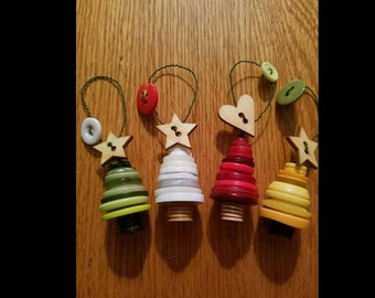 Set of Four Christmas Button Ornaments
