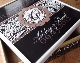 12x12x5 Personalized Wooden Keepsakes Box  - Unique Engagement, Wedding or Anniversary Gift
