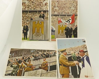 """6 Vintage 1936 BERLIN Olympics Opening Ceremonies Colored Pictures 4 1/4"""" x 2 7/8"""", Cards / 6."""