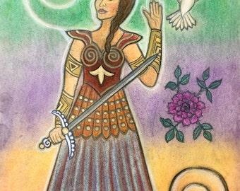 Azna Goddess of Gnostic Christians Defends us from Evil  by Shamanic Artist/Healer Azurae Windwalker