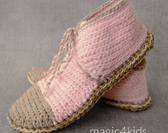 Crochet pattern 100% - women slippers with rope soles,soles pattern included,all women sizes,loafers,laced up boots,adult,girl,footwear,teen
