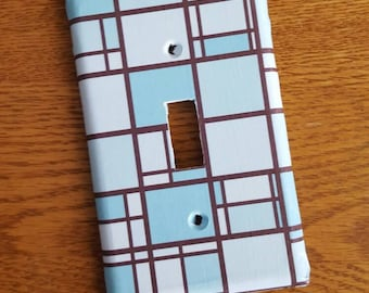 Blue and Brown Stained glass Look Switchplate Cover - light switch, outlet, double, triple
