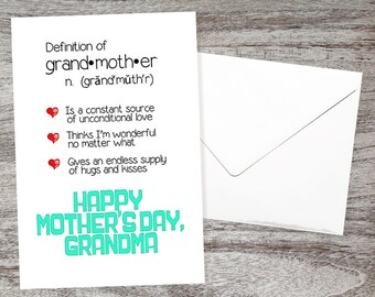 Sweet Grandmother Mother's Day Card - Mother's Day Cards for Grandma - Definition of Grandmother! Unconditional Love Happy Mother's Day