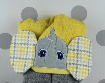 Baby or Toddler Hooded Towel - Elephant Hooded Towel – Elephant Towel for Bath, Beach, or Swimming Pool - Infant Hooded Towel